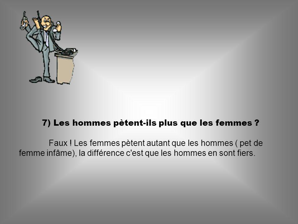 7) Les hommes pètent-ils plus que les femmes .Faux .