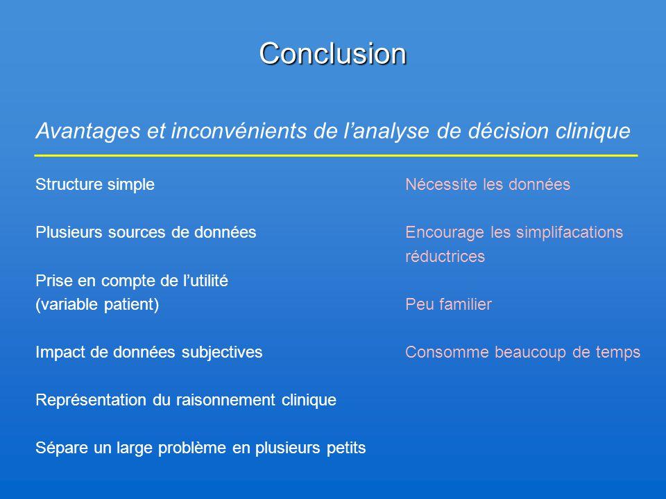 Conclusion Structure simple Plusieurs sources de données Prise en compte de l'utilité (variable patient) Impact de données subjectives Représentation