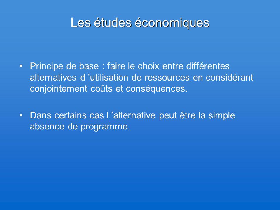 Les études économiques Principe de base : faire le choix entre différentes alternatives d 'utilisation de ressources en considérant conjointement coût