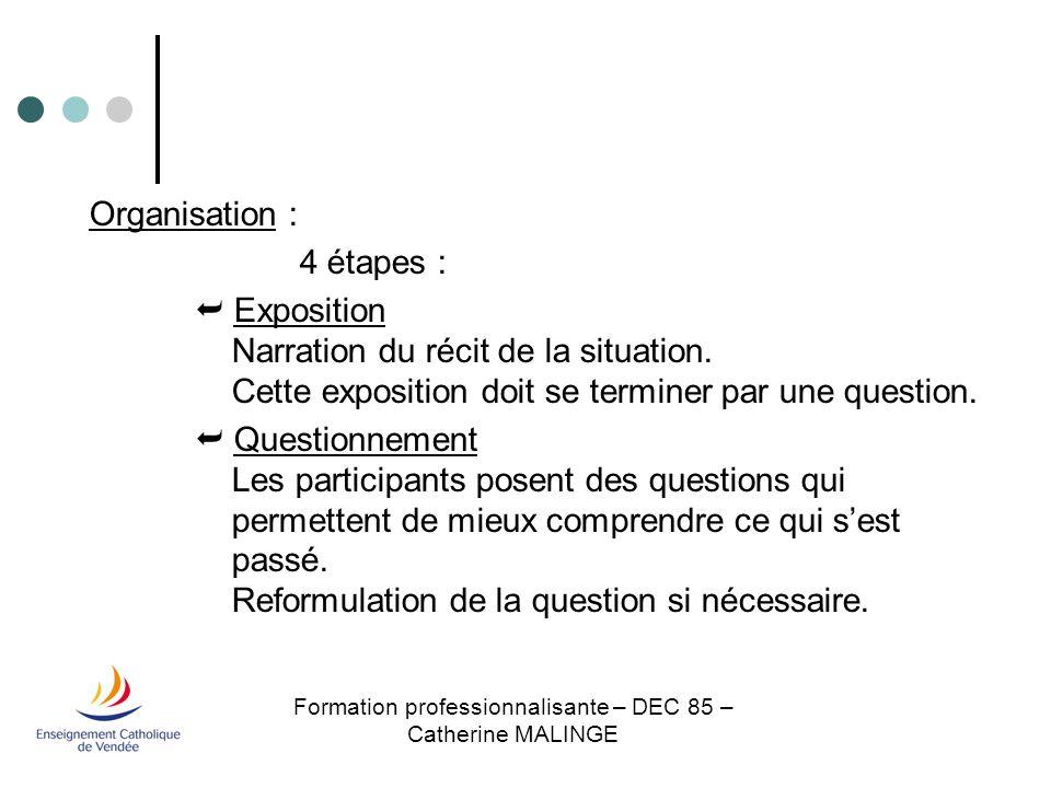 Formation professionnalisante – DEC 85 – Catherine MALINGE  Proposition Chaque participant fait une proposition qui apporte à sa façon une réponse à la question.