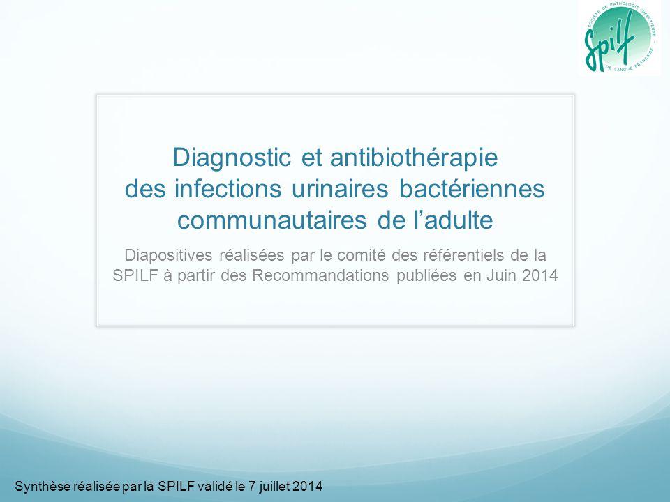 Diagnostic et antibiothérapie des infections urinaires bactériennes communautaires de l'adulte Diapositives réalisées par le comité des référentiels d