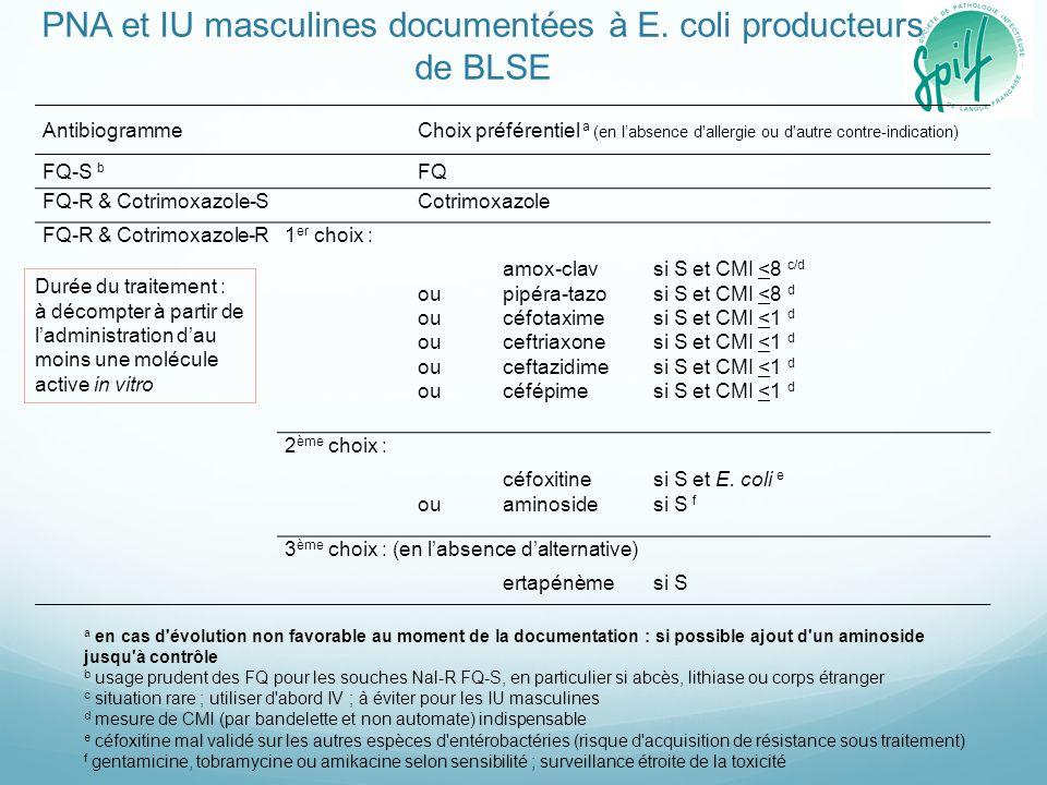 a en cas d'évolution non favorable au moment de la documentation : si possible ajout d'un aminoside jusqu'à contrôle b usage prudent des FQ pour les s