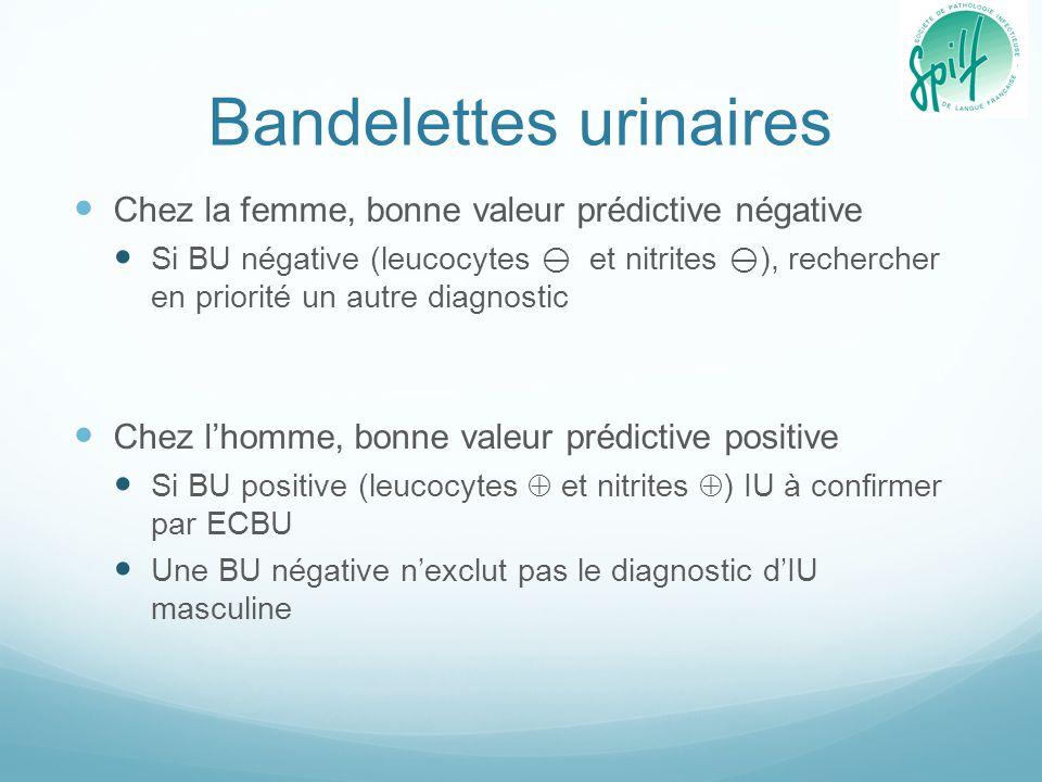 ECBU Chez un patient symptomatique avec leucocyturie > 10 4 UFC/ml, les seuils de bactériurie sont : Il n'est pas recommandé de pratiquer un ECBU de contrôle en cas d'évolution clinique favorable dans les pyélonéphrites aigues et les infections urinaires masculines (sauf exception : IU sur lithiase…) Espèces bactériennesSeuil de significativité (UFC/ml) HommeFemme E.