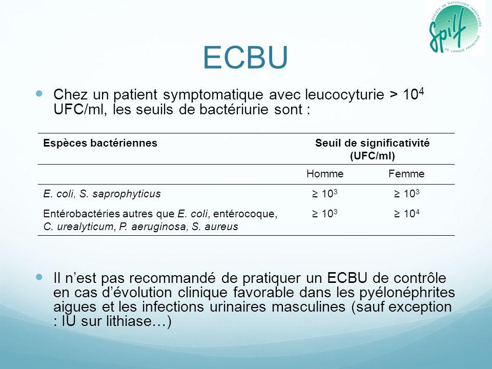ECBU Chez un patient symptomatique avec leucocyturie > 10 4 UFC/ml, les seuils de bactériurie sont : Il n'est pas recommandé de pratiquer un ECBU de c