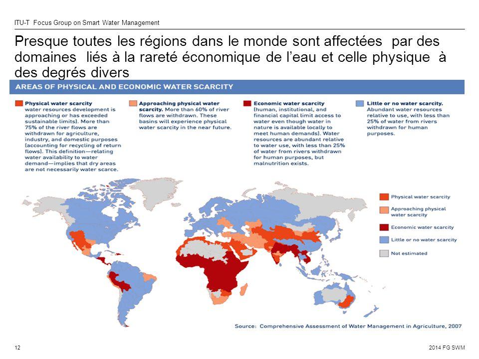 2014 FG SWM ITU-T Focus Group on Smart Water Management Presque toutes les régions dans le monde sont affectées par des domaines liés à la rareté économique de l'eau et celle physique à des degrés divers 12