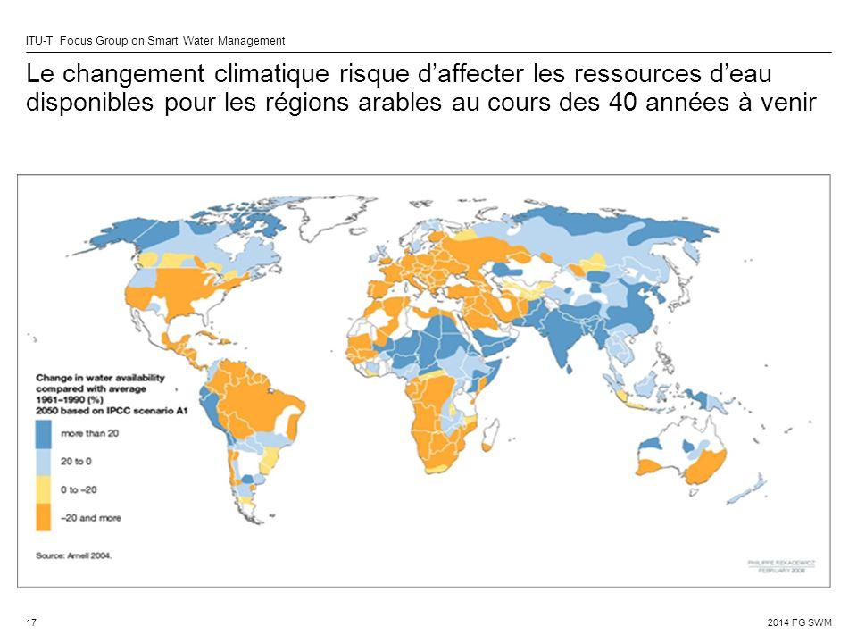 2014 FG SWM ITU-T Focus Group on Smart Water Management Le changement climatique risque d'affecter les ressources d'eau disponibles pour les régions arables au cours des 40 années à venir 17