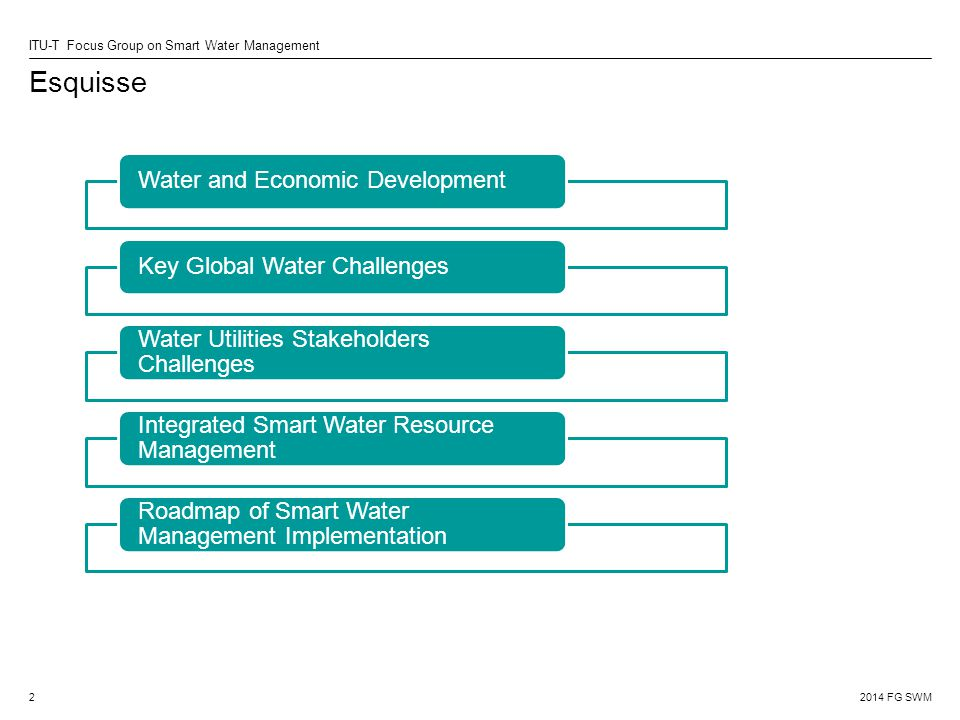2014 FG SWM ITU-T Focus Group on Smart Water Management Esquisse 2 Water and Economic DevelopmentKey Global Water Challenges Water Utilities Stakeholders Challenges Integrated Smart Water Resource Management Roadmap of Smart Water Management Implementation
