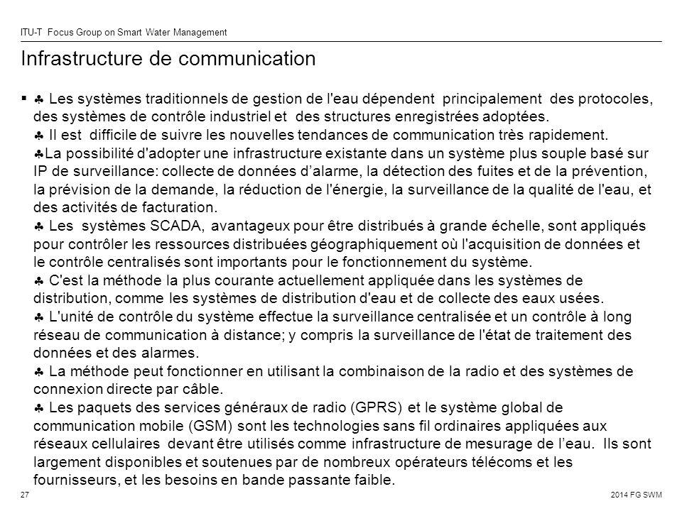 2014 FG SWM ITU-T Focus Group on Smart Water Management Infrastructure de communication   Les systèmes traditionnels de gestion de l eau dépendent principalement des protocoles, des systèmes de contrôle industriel et des structures enregistrées adoptées.