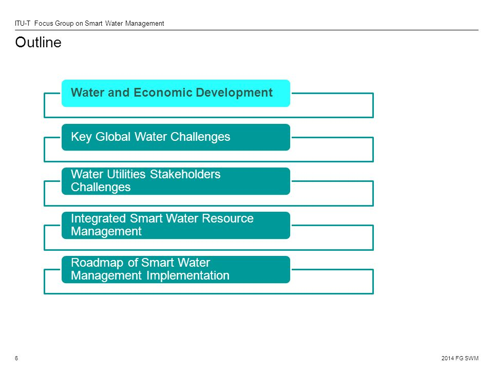 2014 FG SWM ITU-T Focus Group on Smart Water Management Outline 6 Water and Economic DevelopmentKey Global Water Challenges Water Utilities Stakeholders Challenges Integrated Smart Water Resource Management Roadmap of Smart Water Management Implementation