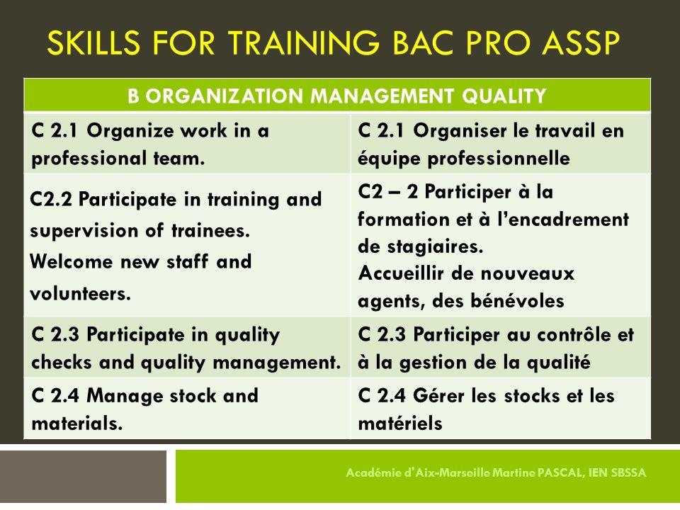 SKILLS FOR TRAINING BAC PRO ASSP B ORGANIZATION MANAGEMENT QUALITY C 2.1 Organize work in a professional team. C 2.1 Organiser le travail en équipe pr