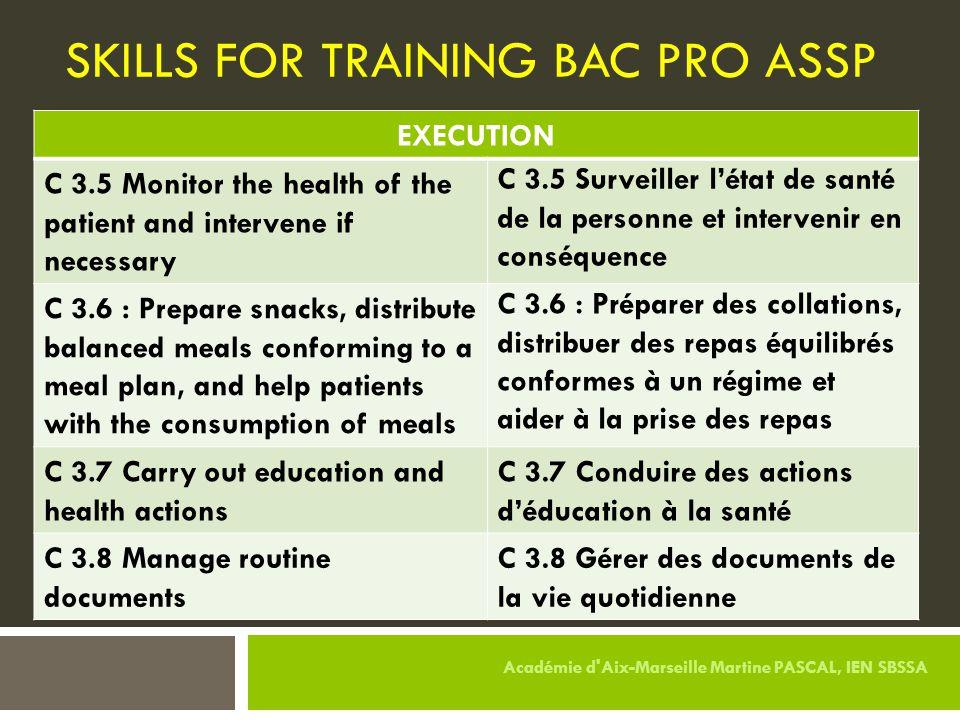 SKILLS FOR TRAINING BAC PRO ASSP EXECUTION C 3.5 Monitor the health of the patient and intervene if necessary C 3.5 Surveiller l'état de santé de la p