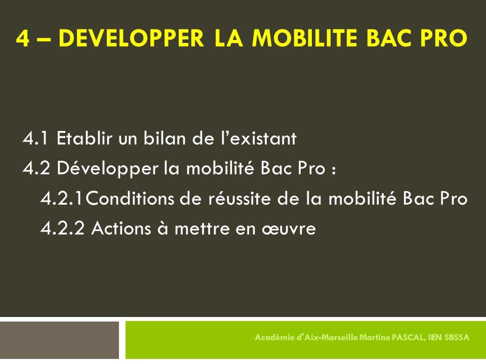 4 – DEVELOPPER LA MOBILITE BAC PRO 4.1 Etablir un bilan de l'existant 4.2 Développer la mobilité Bac Pro : 4.2.1Conditions de réussite de la mobilité