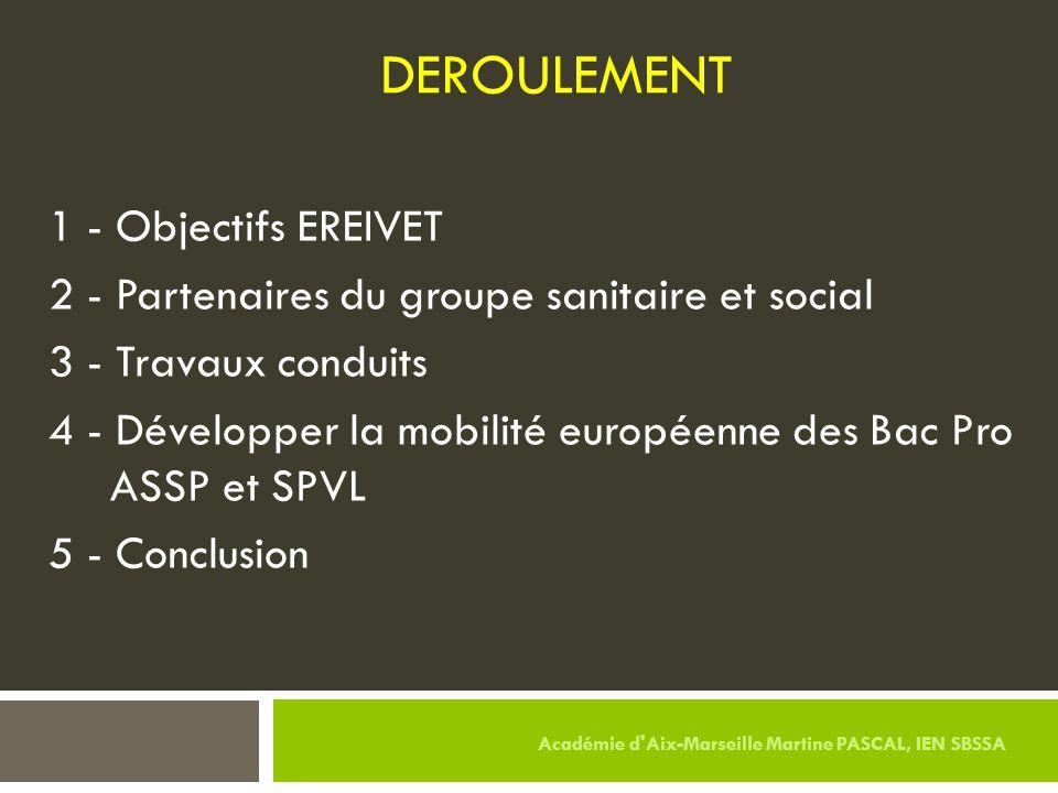 DEROULEMENT 1 - Objectifs EREIVET 2 - Partenaires du groupe sanitaire et social 3 - Travaux conduits 4 - Développer la mobilité européenne des Bac Pro