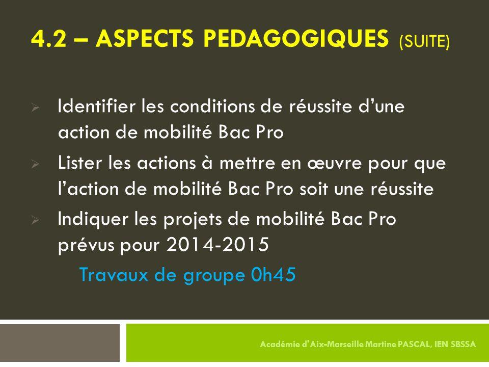 4.2 – ASPECTS PEDAGOGIQUES (SUITE)  Identifier les conditions de réussite d'une action de mobilité Bac Pro  Lister les actions à mettre en œuvre pou