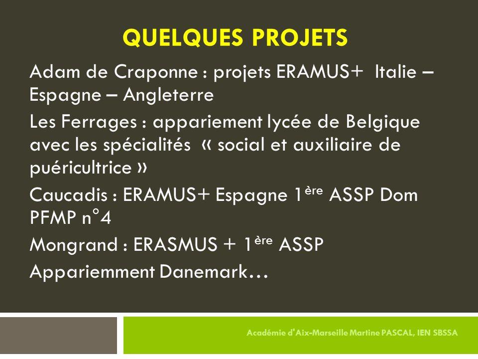 QUELQUES PROJETS Adam de Craponne : projets ERAMUS+ Italie – Espagne – Angleterre Les Ferrages : appariement lycée de Belgique avec les spécialités «