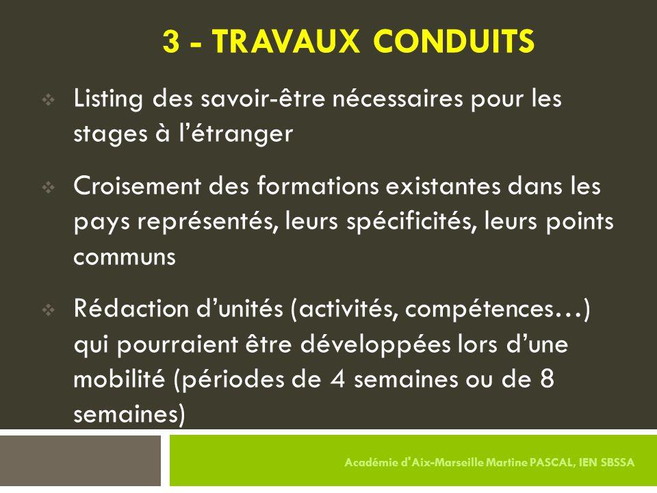3 - TRAVAUX CONDUITS  Listing des savoir-être nécessaires pour les stages à l'étranger  Croisement des formations existantes dans les pays représent