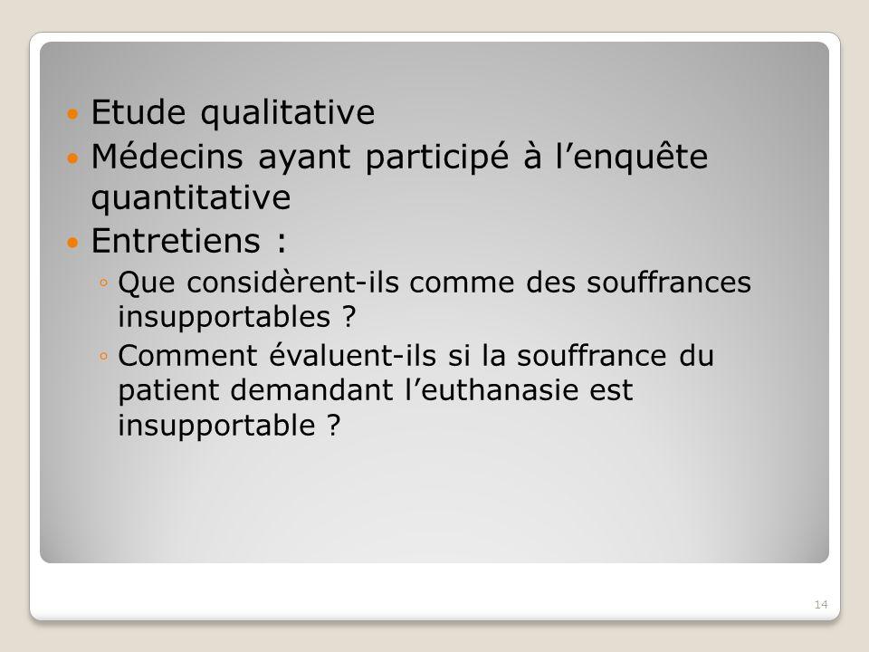 Etude qualitative Médecins ayant participé à l'enquête quantitative Entretiens : ◦Que considèrent-ils comme des souffrances insupportables .
