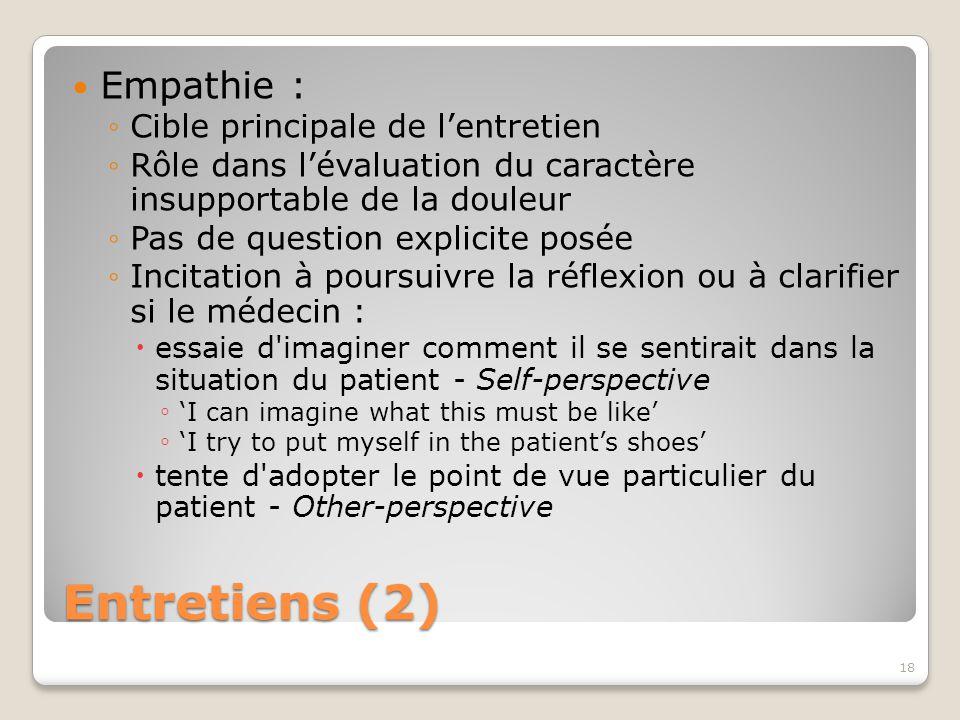 Entretiens (2) Empathie : ◦Cible principale de l'entretien ◦Rôle dans l'évaluation du caractère insupportable de la douleur ◦Pas de question explicite posée ◦Incitation à poursuivre la réflexion ou à clarifier si le médecin :  essaie d imaginer comment il se sentirait dans la situation du patient - Self-perspective ◦ 'I can imagine what this must be like' ◦ 'I try to put myself in the patient's shoes'  tente d adopter le point de vue particulier du patient - Other-perspective 18