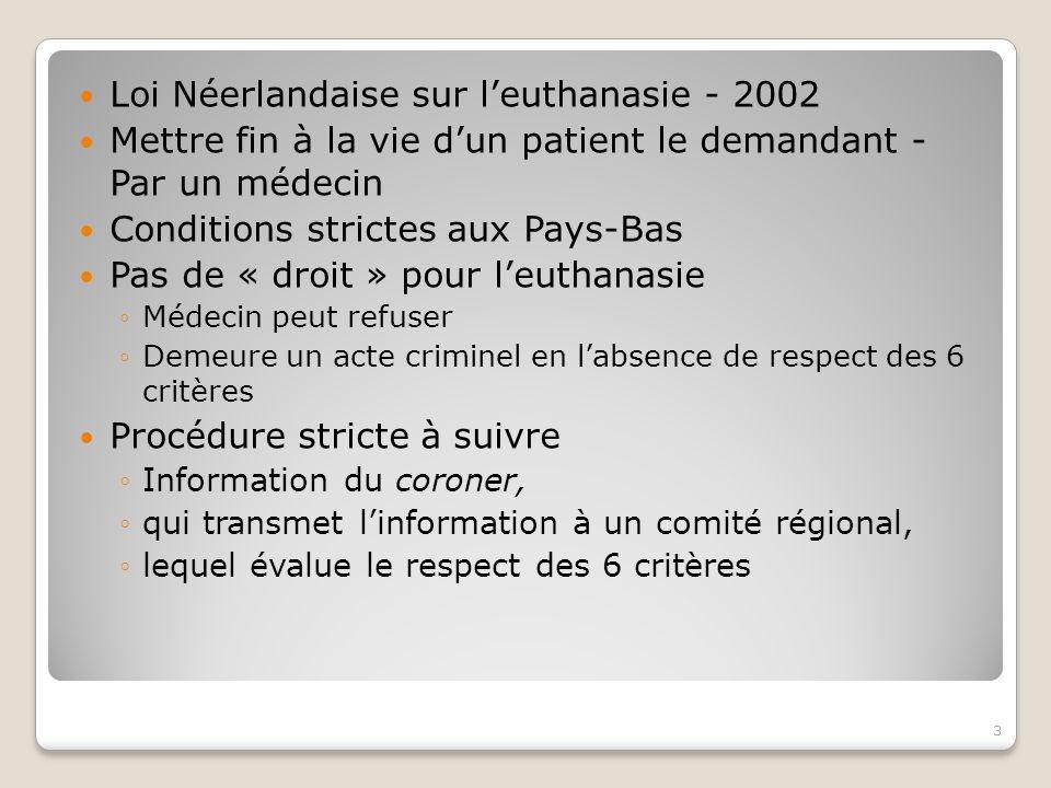 Loi Néerlandaise sur l'euthanasie - 2002 Mettre fin à la vie d'un patient le demandant - Par un médecin Conditions strictes aux Pays-Bas Pas de « droit » pour l'euthanasie ◦Médecin peut refuser ◦Demeure un acte criminel en l'absence de respect des 6 critères Procédure stricte à suivre ◦Information du coroner, ◦qui transmet l'information à un comité régional, ◦lequel évalue le respect des 6 critères 3