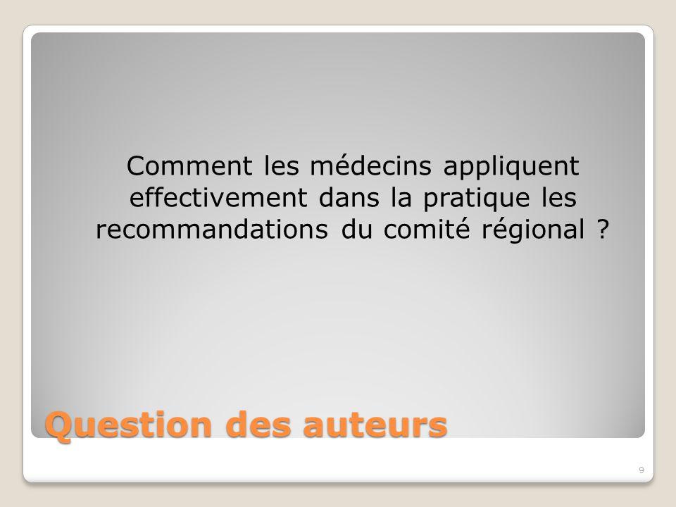 Question des auteurs Comment les médecins appliquent effectivement dans la pratique les recommandations du comité régional .