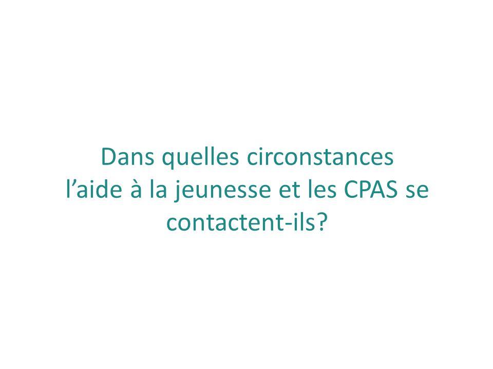 Dans quelles circonstances l'aide à la jeunesse et les CPAS se contactent-ils?
