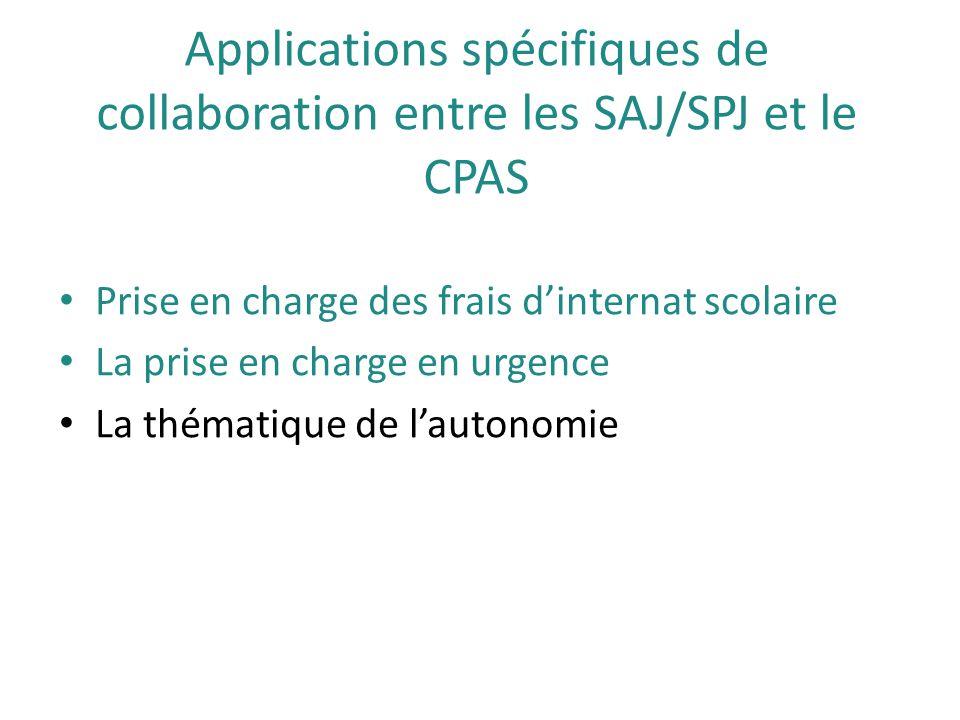 Applications spécifiques de collaboration entre les SAJ/SPJ et le CPAS Prise en charge des frais d'internat scolaire La prise en charge en urgence La