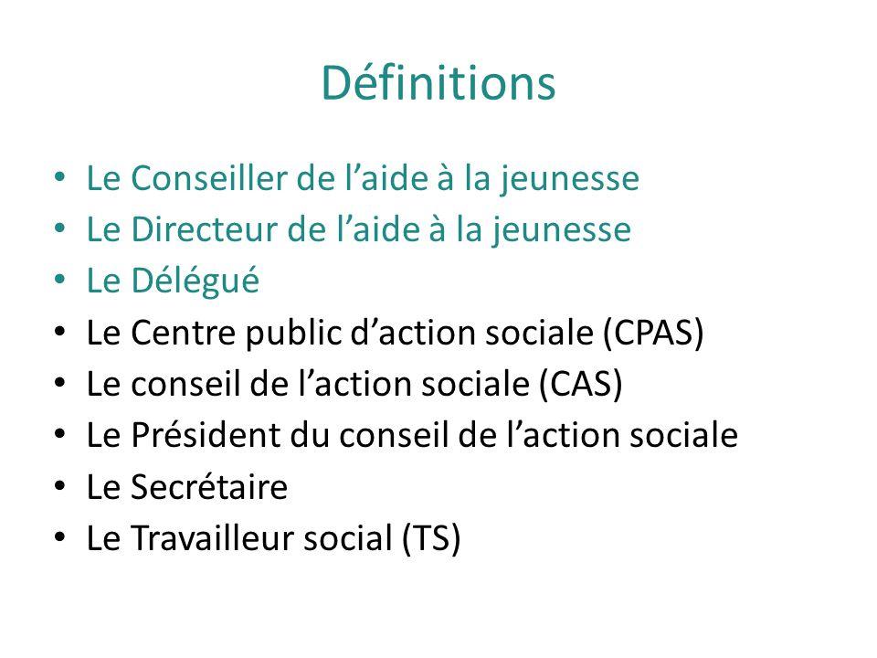 Définitions Le Conseiller de l'aide à la jeunesse Le Directeur de l'aide à la jeunesse Le Délégué Le Centre public d'action sociale (CPAS) Le conseil