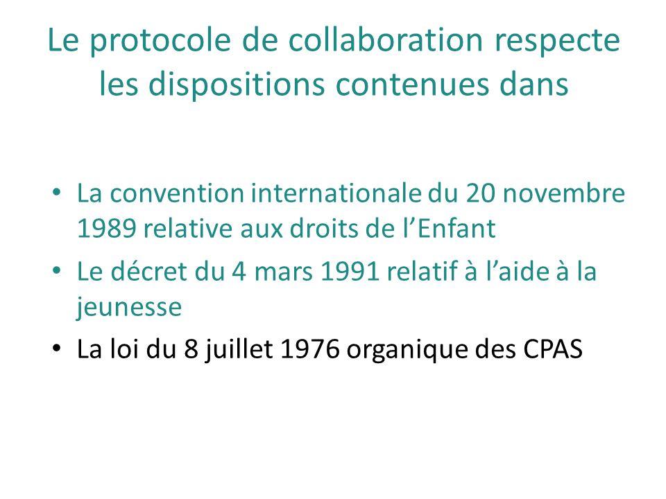 Le protocole de collaboration respecte les dispositions contenues dans La convention internationale du 20 novembre 1989 relative aux droits de l'Enfan