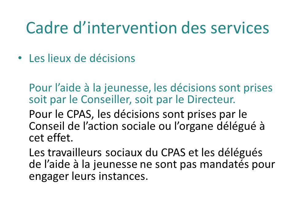 Cadre d'intervention des services Les lieux de décisions Pour l'aide à la jeunesse, les décisions sont prises soit par le Conseiller, soit par le Dire