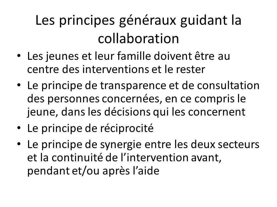 Les principes généraux guidant la collaboration Les jeunes et leur famille doivent être au centre des interventions et le rester Le principe de transp