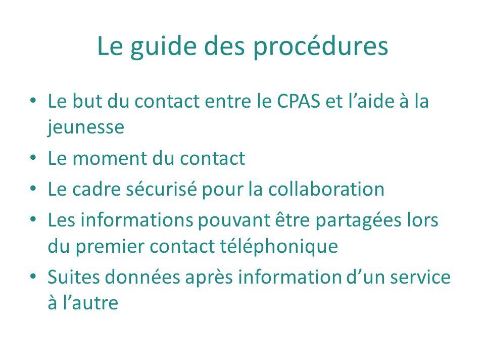 Le guide des procédures Le but du contact entre le CPAS et l'aide à la jeunesse Le moment du contact Le cadre sécurisé pour la collaboration Les infor