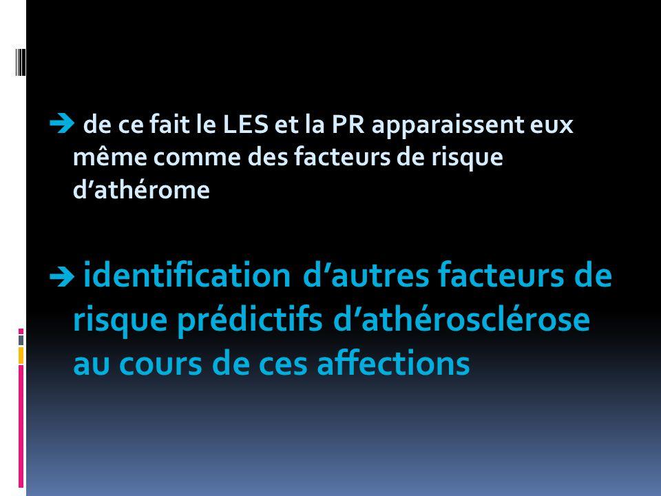  de ce fait le LES et la PR apparaissent eux même comme des facteurs de risque d'athérome  identification d'autres facteurs de risque prédictifs d'a