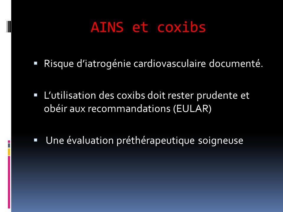 AINS et coxibs  Risque d'iatrogénie cardiovasculaire documenté.  L'utilisation des coxibs doit rester prudente et obéir aux recommandations (EULAR)