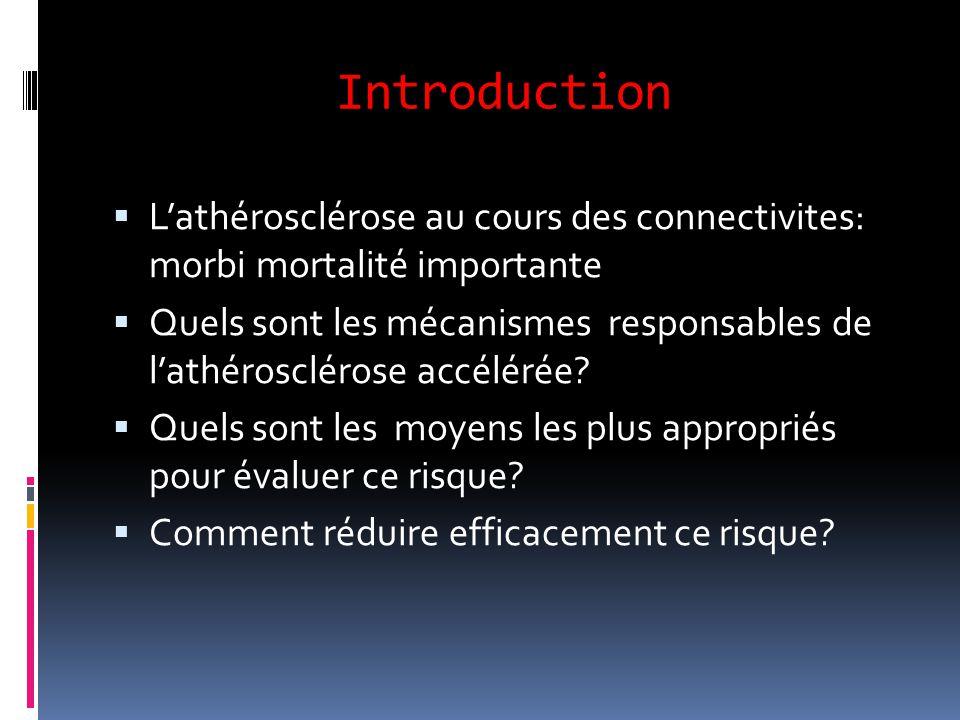 Introduction  L'athérosclérose au cours des connectivites: morbi mortalité importante  Quels sont les mécanismes responsables de l'athérosclérose ac