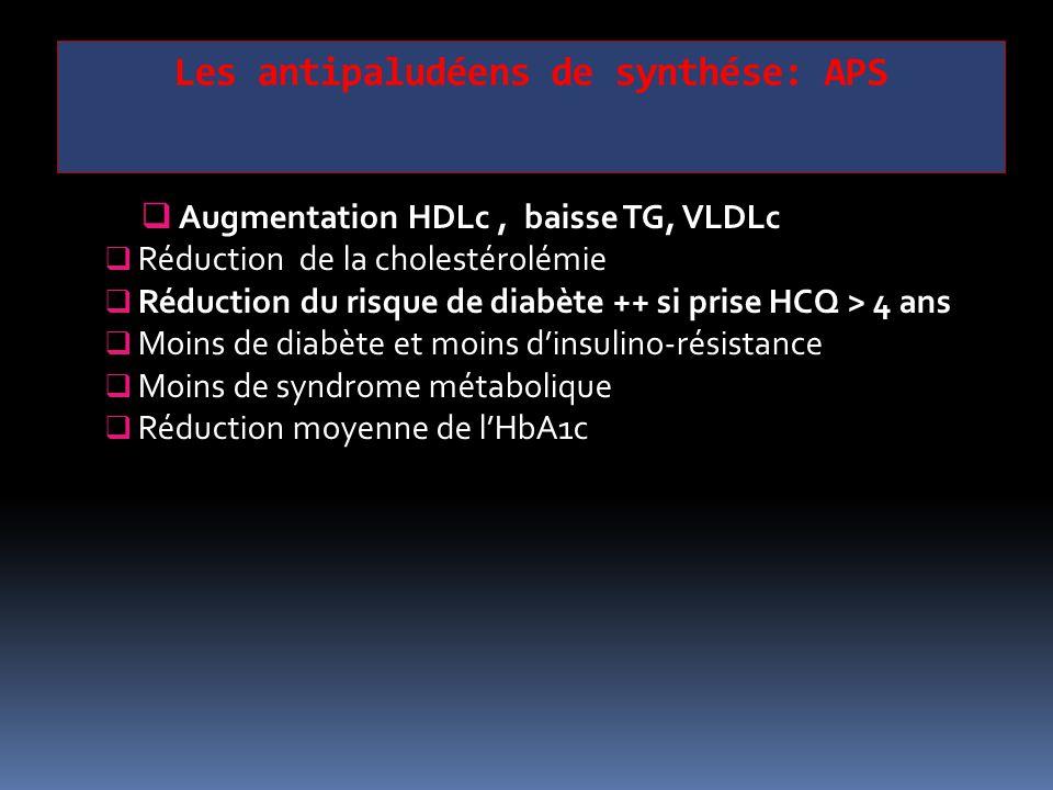  Augmentation HDLc, baisse TG, VLDLc  Réduction de la cholestérolémie  Réduction du risque de diabète ++ si prise HCQ > 4 ans  Moins de diabète et