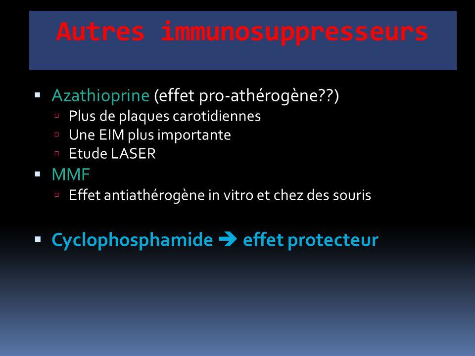 Autres immunosuppresseurs  Azathioprine (effet pro-athérogène??)  Plus de plaques carotidiennes  Une EIM plus importante  Etude LASER  MMF  Effe