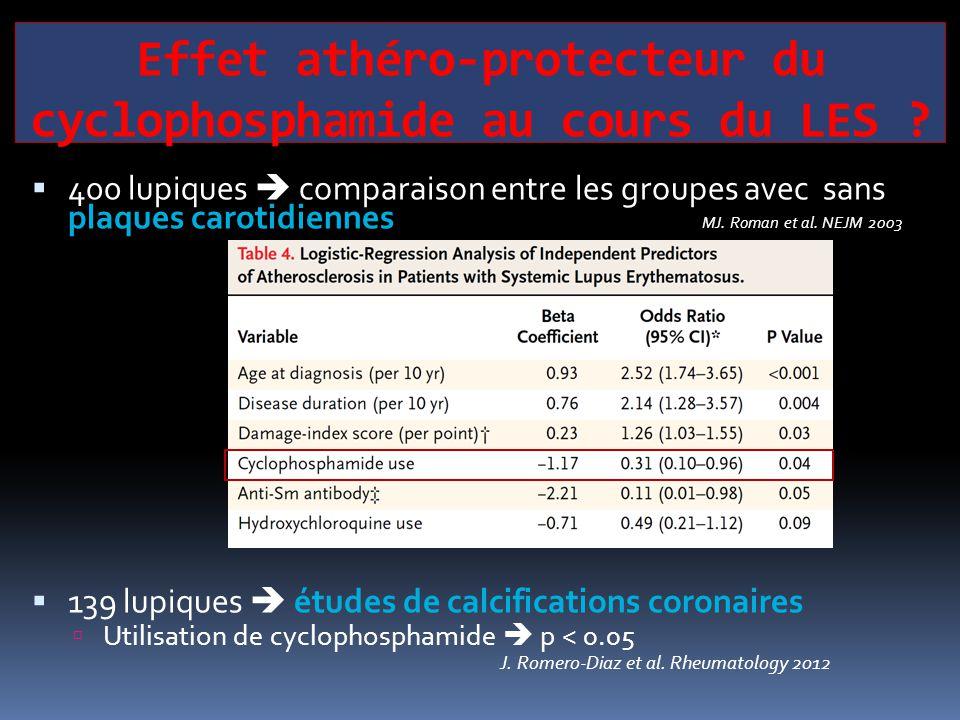 Effet athéro-protecteur du cyclophosphamide au cours du LES ?  400 lupiques  comparaison entre les groupes avec sans plaques carotidiennes MJ. Roman