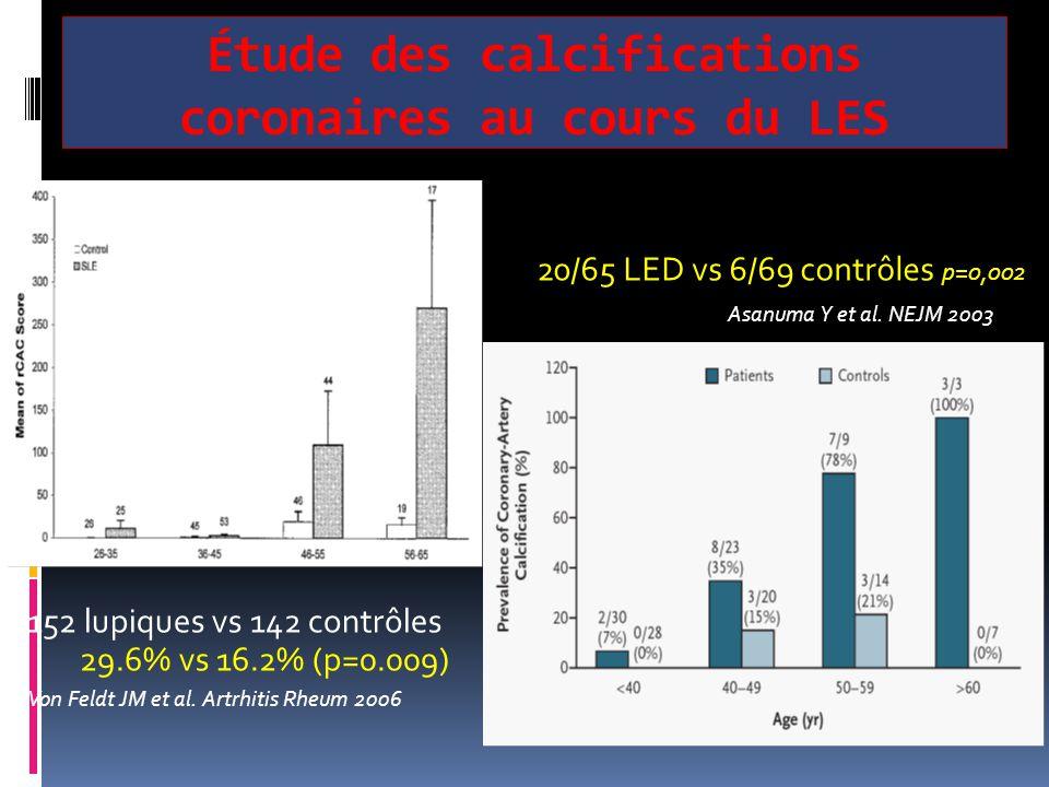 Étude des calcifications coronaires au cours du LES 20/65 LED vs 6/69 contrôles p=0,002 Asanuma Y et al. NEJM 2003 152 lupiques vs 142 contrôles 29.6%