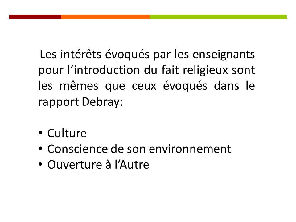 Les intérêts évoqués par les enseignants pour l'introduction du fait religieux sont les mêmes que ceux évoqués dans le rapport Debray: Culture Conscience de son environnement Ouverture à l'Autre