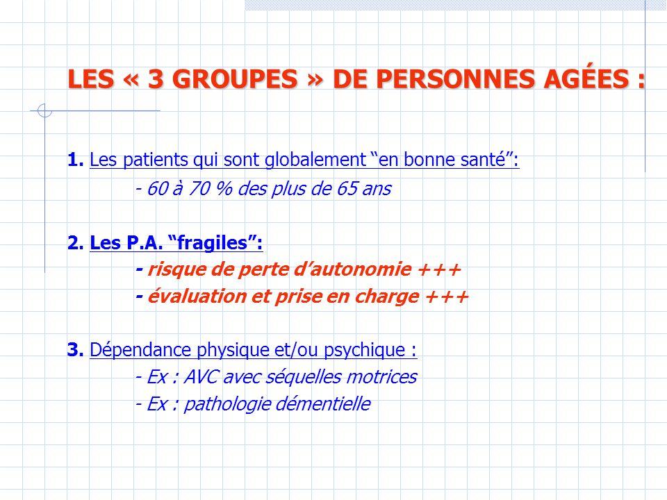 LES « 3 GROUPES » DE PERSONNES AGÉES : 1.