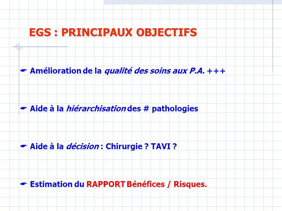 EGS : PRINCIPAUX OBJECTIFS EGS : PRINCIPAUX OBJECTIFS  Amélioration de la qualité des soins aux P.A.
