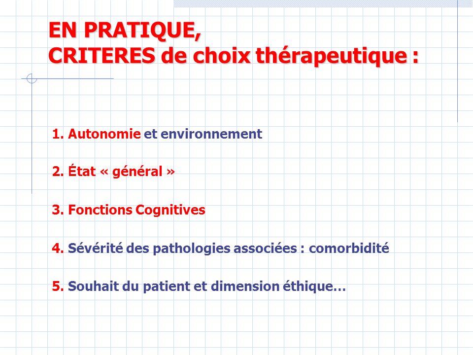EN PRATIQUE, CRITERES de choix thérapeutique : 1.Autonomie et environnement 2.