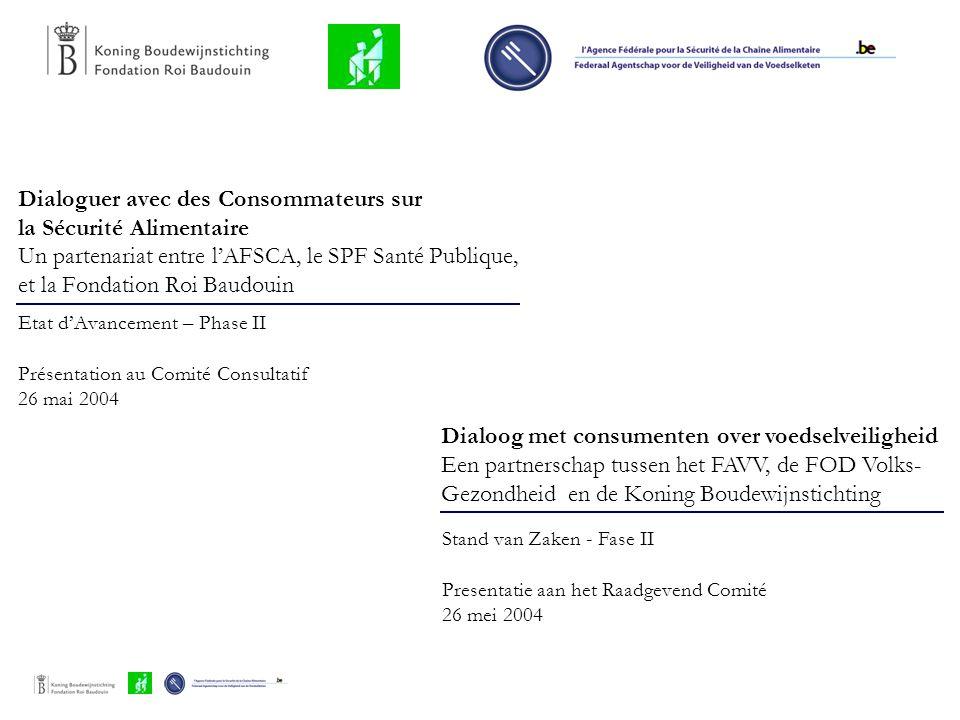 Dialoguer avec des Consommateurs sur la Sécurité Alimentaire Un partenariat entre l'AFSCA, le SPF Santé Publique, et la Fondation Roi Baudouin Etat d'