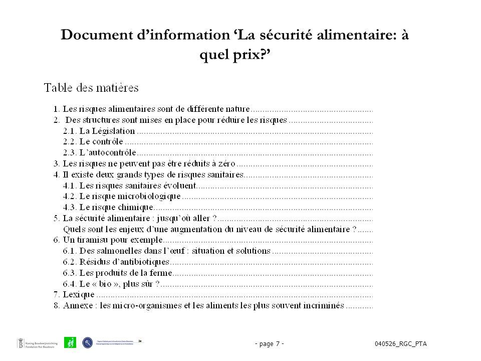 040526_RGC_PTA- page 7 - Document d'information 'La sécurité alimentaire: à quel prix?'