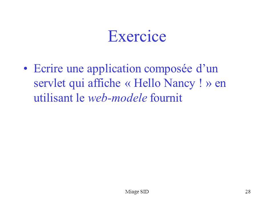 Miage SID28 Exercice Ecrire une application composée d'un servlet qui affiche « Hello Nancy ! » en utilisant le web-modele fournit