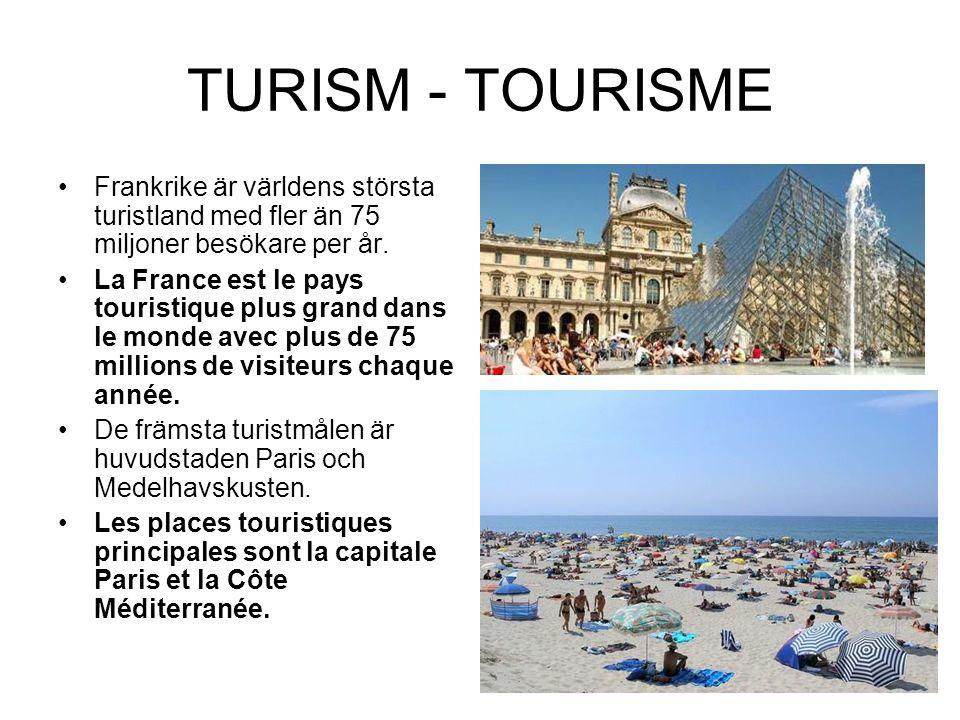 TURISM - TOURISME Frankrike är världens största turistland med fler än 75 miljoner besökare per år.