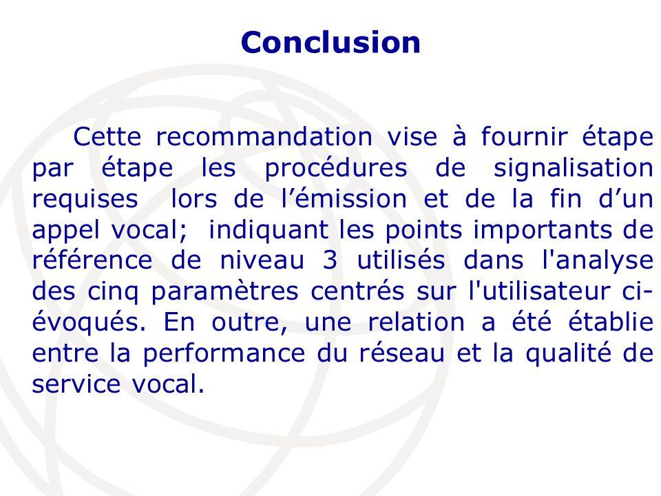 Conclusion Cette recommandation vise à fournir étape par étape les procédures de signalisation requises lors de l'émission et de la fin d'un appel vocal; indiquant les points importants de référence de niveau 3 utilisés dans l analyse des cinq paramètres centrés sur l utilisateur ci- évoqués.