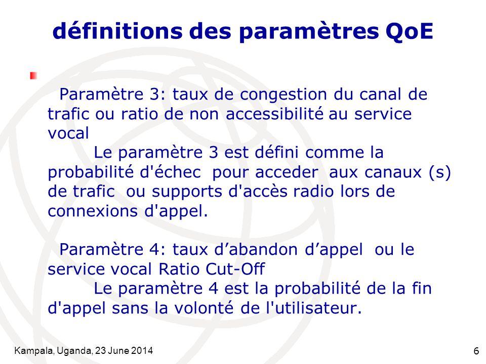 Kampala, Uganda, 23 June 20146 définitions des paramètres QoE Paramètre 3: taux de congestion du canal de trafic ou ratio de non accessibilité au serv