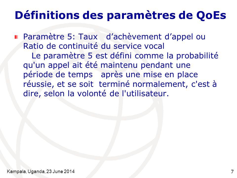 Kampala, Uganda, 23 June 20147 Définitions des paramètres de QoEs Paramètre 5: Taux d'achèvement d'appel ou Ratio de continuité du service vocal Le pa