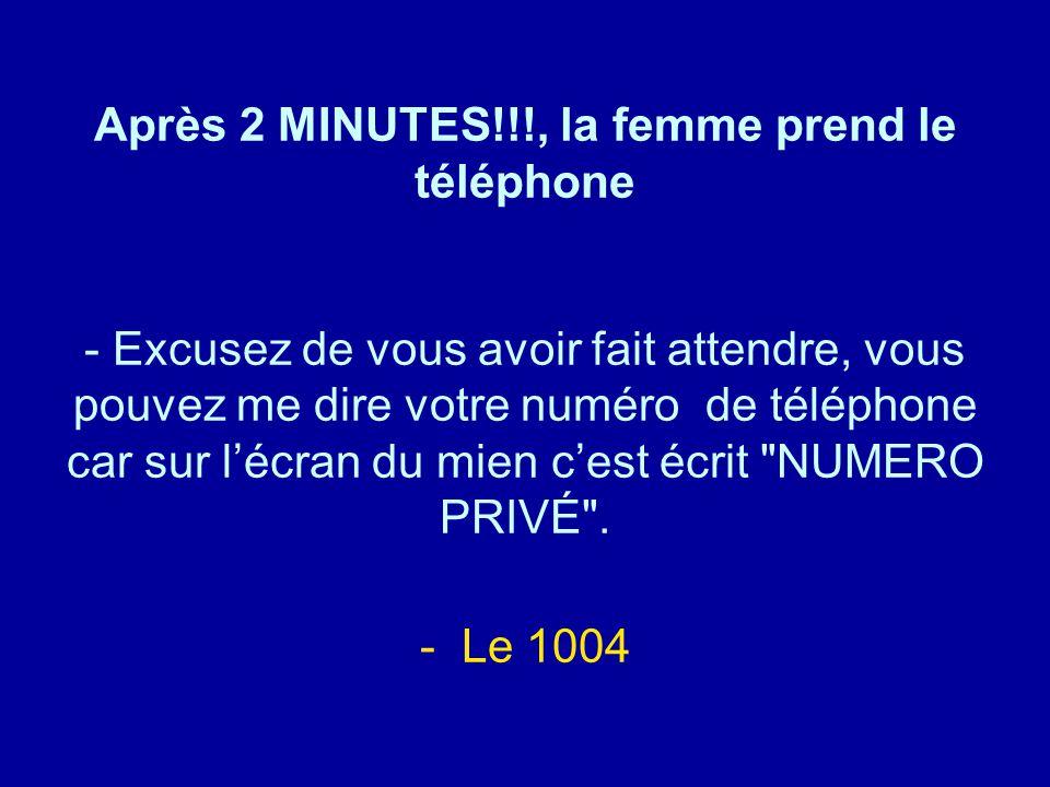 Après 2 MINUTES!!!, la femme prend le téléphone - Excusez de vous avoir fait attendre, vous pouvez me dire votre numéro de téléphone car sur l'écran d